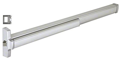 """Crl 4' Jackson 2095E Electric Rim Latch Retraction Panic Exit Device With """"S"""" Strike Fits 36"""" To 48"""" Wide Door Satin Aluminum Finish By Cr Laurence"""