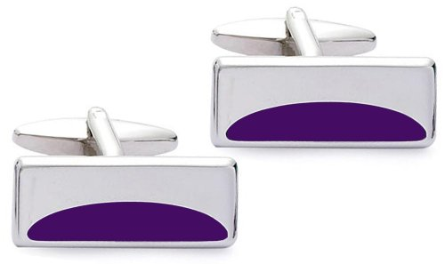 Code Red Base Metal Rhodium Plated Rectangular Cufflinks with Purple Enamel Crescent Design