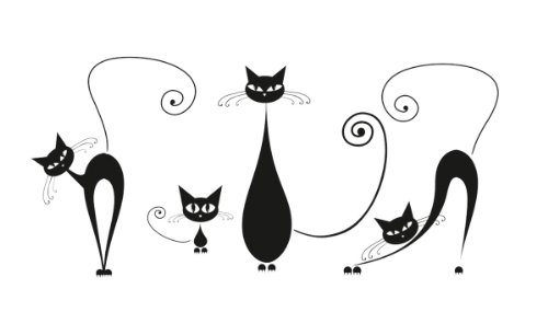 Platin Art Wall Decal Deco Sticker, Black Cats
