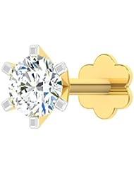 TBZ - The Original 18k (750) Yellow Gold And Diamond Solitaire Screw Nosepin - B01H02NKTI