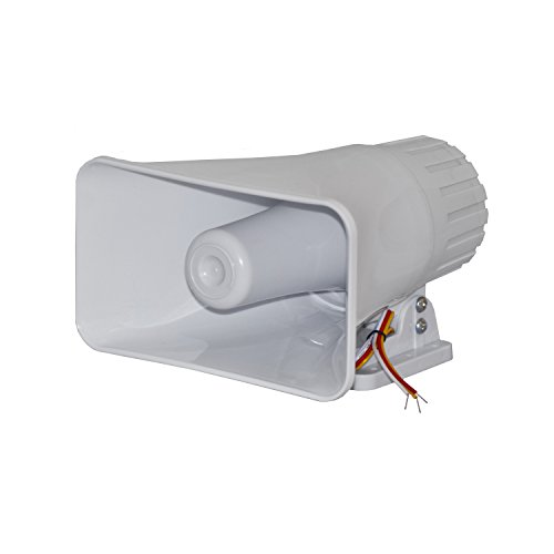 ALEKO-BS112-12-V-Big-Electronic-Wired-Alarm-Siren-Horn-for-Security-System-White-Color