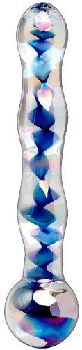 Icicles No.8 Blue Sprial Wave Glass Dildo