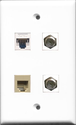 Riteav - 2 Port Coax Cable Tv- F-Type And 1 Port Phone Rj11 Rj12 Beige And 1 Port Cat5E Ethernet White Wall Plate