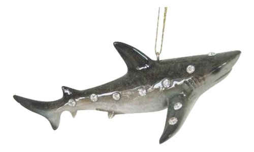 Jeweled Great Reef Shark Christmas Holiday Ornament December Diamonds
