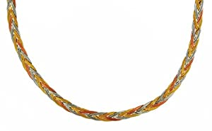Carissima 9ct Three Colour Gold Herringbone Chain Necklace 46cm/18""