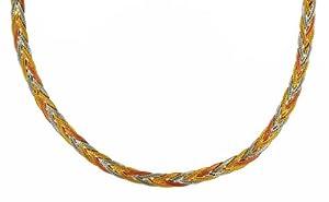 "Carissima 9ct Three Colour Gold Herringbone Chain Necklace 46cm/18"""