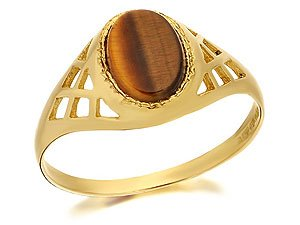 9ct Gold Oval Tigers Eye Signet Ring