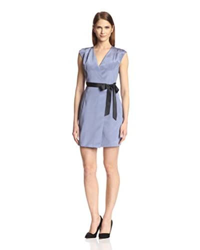 SOCIETY NEW YORK Women's Cap Sleeve Wrap Dress  [Wedgewood/Black]
