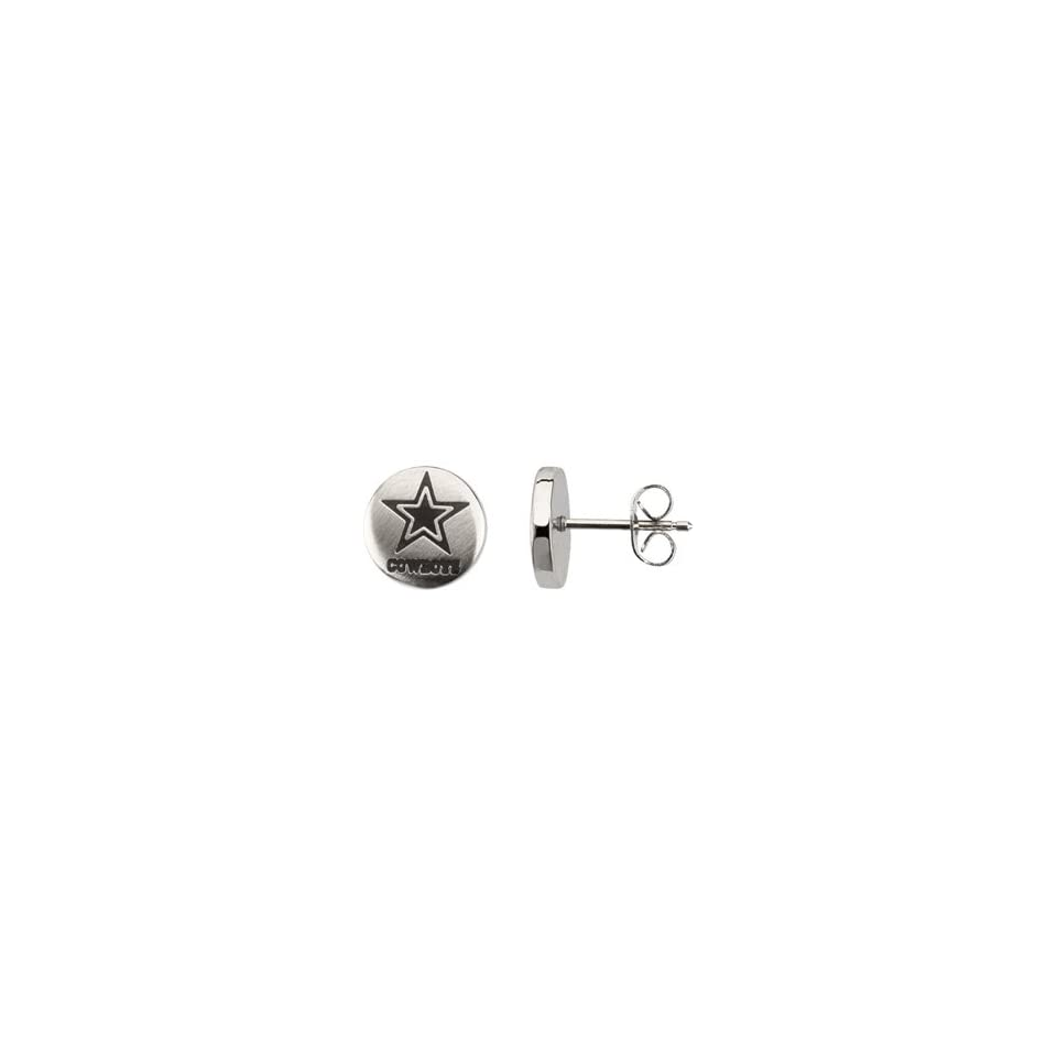 Womens Stainless Steel Dallas Cowboys NFL Football Team Logo Round Stud Earrings 10.00mm x 10.00mm or .39 x .39 Inches