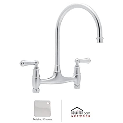 Rohl U.4791L-APC-2 Perrin and Rowe Double Handle Bridge Kitchen Faucet, Polished Chrome