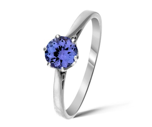 Stylish 9 ct White Gold Ladies Solitaire Engagement Ring with Tanzanite 0.50 Carat Size L