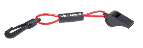 JET LOGIC W-2 Safety Whistle with Floating Lanyard, Red/Black