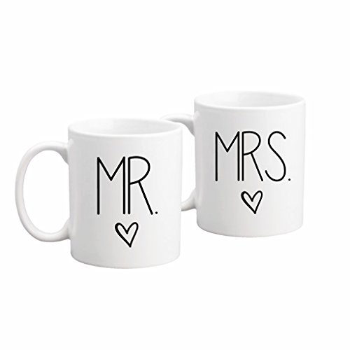 The Coffee Corner - Mr. And Mrs. Coffee or Tea Mug Set - 11 Ounce White Ceramic - Perfect Wedding, Bridal Shower, Anniversary Set Gift Idea - Gift for Newlyweds - Unique Personal Present for Couple