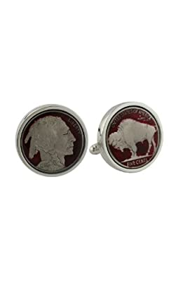 David Donahue Sterling Silver Red Buffalo Nickel Cufflinks (H95508002)