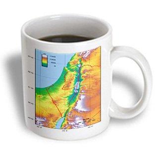Mug_174012_2 Florene - Maps Of World In Exotic Format - Image Of Topographic Map Of Israel - Mugs - 15Oz Mug