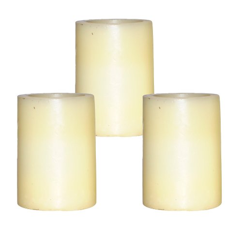 Dfl 3X4 Inch Flameless Real Wax Pilliar Led Candle With Timer,Battery-Operated,Ivory,Pack Of 3