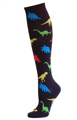 Socksmith Womens Black Dinosaur Knee High Socks
