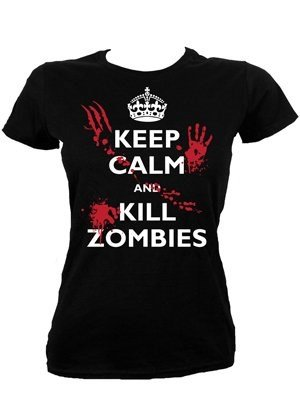 T-Shirt Keep Calm and Kill Zombies da donna in nero