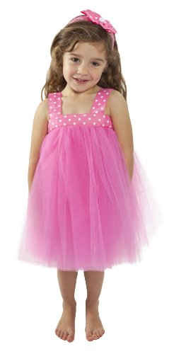 Hot Pink Tutu Dress for Girl's Dress up (Large 5 - 6 Years)