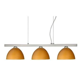 Brella 3 Light Linear Pendant Finish: Satin Nickel, Glass Shade: Oak
