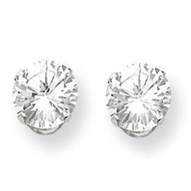 Genuine IceCarats Designer Jewelry Gift Sterling Silver 7Mm Round Snap Set Cz Stud Earrings