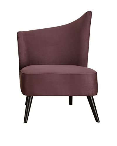 Armen Living Elegant Accent Chair with Flared Back Left Side, Purple