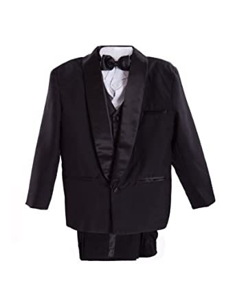 Black Boys & Baby Boy Tuxedo Special occasion suit, Complete Set, Jacket, Shirt, Vest & Pants, Bowtie