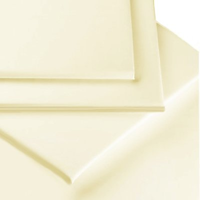 Linens Limited Polycotton Percale 180 Thread Count Fitted Sheet, Cream, Bunk Bed