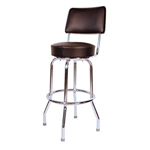 Richardson Seating Corp 1957BLK 1957- 30 in. Floridian Swivel Bar Stool#44; Black#44; - Chrome