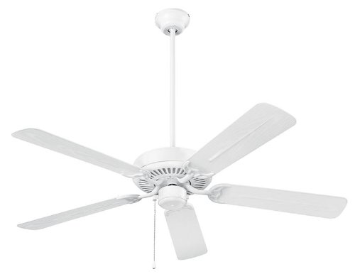 NuTone Model CFO52WH Outdoor Ceiling Fan, White Finish, 52-inch Dual Finish Blades, Energy Star