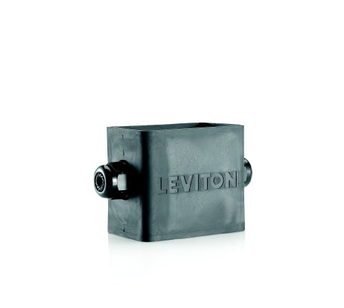 Leviton 3059F-1E Portable Outlet Box, Single-Gang, Standard Depth, Feed-Thru Style, Cable Diameter 0.230-Inch 0.546-Inch, Black
