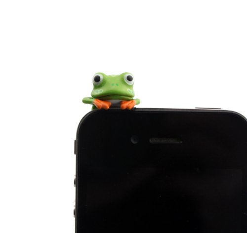 Nine States Hard Plastic Lovely Cartoon Frog 3.5Mm Headphone Jack Anti Dust Plug Ear Cap For Iphone 5 5S 5C Iphone4,4S,Ipad ,Ipod Touch ,Samsung Galaxy S3 S4 Note 3 Note2,Blackberry And Other Cellphone (Green)