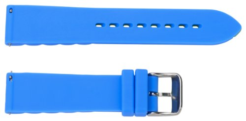 22mm Premium 2 Piece Ss Silicone Striped Royal Blue / Lime Green Interchangeable Watch Band Strap