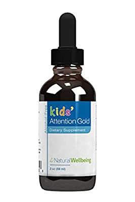 Natural Wellbeing - Kids' Attention Gold - Natural Support for Focus and Concentration - 2oz(59ml)