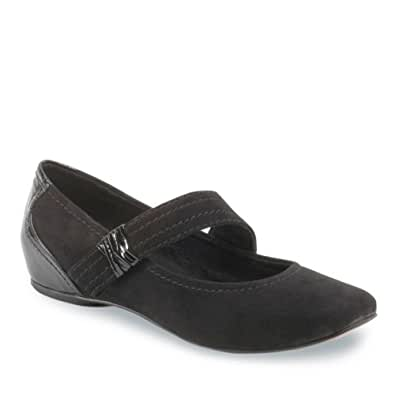 Antia Shoes Women's Bella Casual Shoes,Black Kid Suede/Marble Patent,7.5 WW US