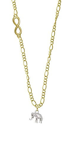 Silver Elephant Gold Infinity Figaro Necklace