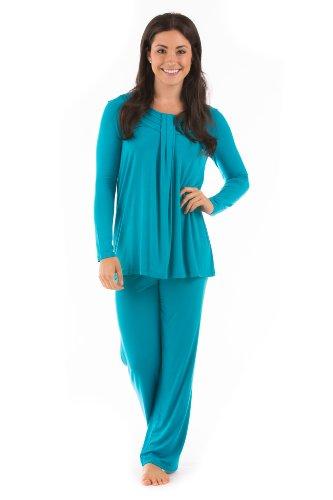 Womens Luxury Pajamas Pj Set Eco Friendly Bamboo Pajamas Clothing For Women Wb0006-Cbz-L front-625060