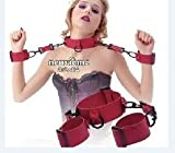 TOP-MALL Fetish Adult Toy Love Sm Leather Neck Collar Cuffs With Handcuffs Chain Shackles Red Restraint Bondage for Women and Men