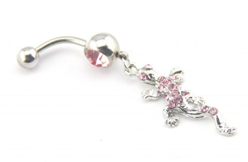 Baqi Lovely Pink Crystal Gem Stud Gecko Lizard Dangle Belly Ring Bar Navel Barbell 14G Pink