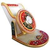 "5"" High Marble Made Mobile (Cellphone) Stand + Office Table Clock With Rajasthani Paint Work"