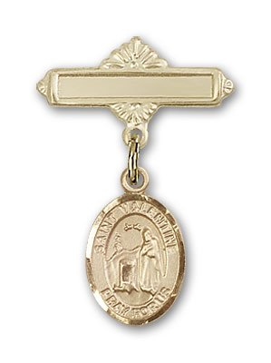 ReligiousObsession's Gold Filled Baby Badge with St. Valentine of Rome Charm and Polished Badge Pin deal 2016