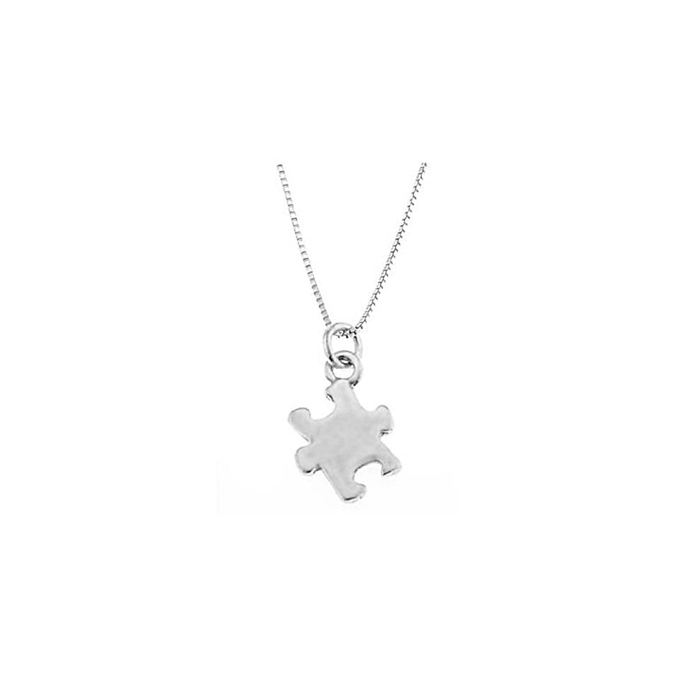 Silver Double Sided Autism Symbol Puzzle Piece Necklace