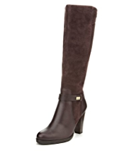Autograph Leather Wide Fit Panelled Long Biker Boots with Insolia® & Stretch Zip