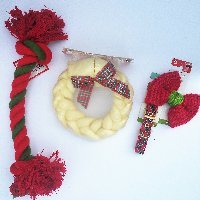[Large Dog Christmas Bowtie Chew Toy Rawhide Wreath and Collar Bundle Gift Set (X-Large)] (St Bernard Baby Costumes)