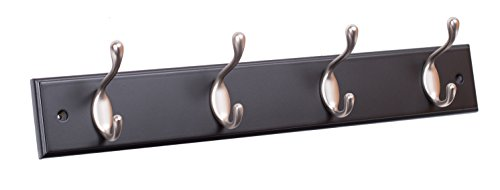 BirdRock Home Oval Hook Coat and Hat Rack | 4 Hooks | Black Finish | Satin Nickel Hooks