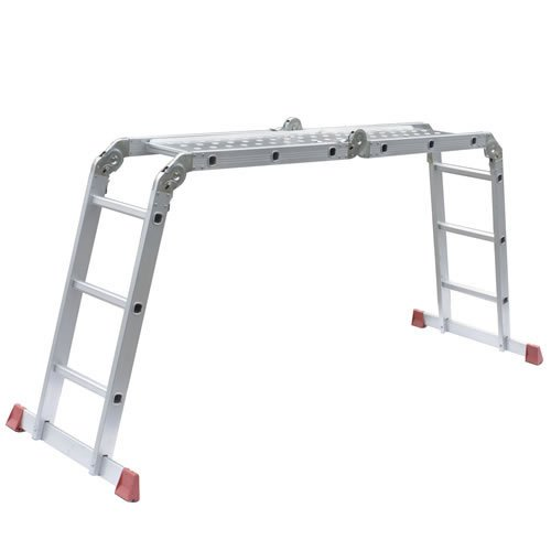 NEW TRUESHOPPING® SUPERIOR 'RED FOOT' MULTI PURPOSE LADDER 3.65M (12FT) 12 RUNG INC. 2 FREE STEEL PLATFORMS  &  EXTRA STRONG GRIP FEET