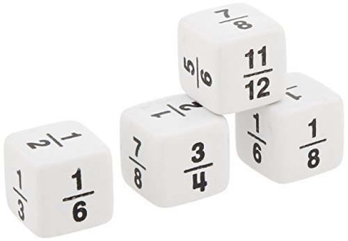 School Smart Fraction Dice - Set of 4 - White