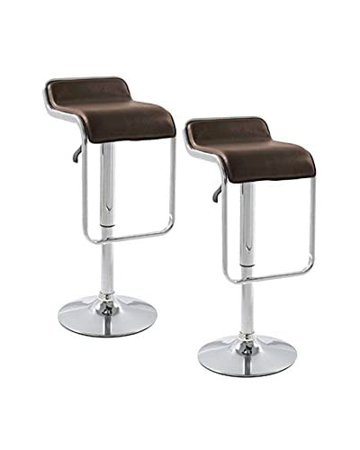 Manhattan Living Set of 2 Flat Bar Stool Chairs, Brown
