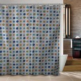 New Colorful Dots and Flowers Bathroom Fabric Shower Curtain 180x200cm Bath Curtain Bath Screen Waterproof w/ Shower Hooks