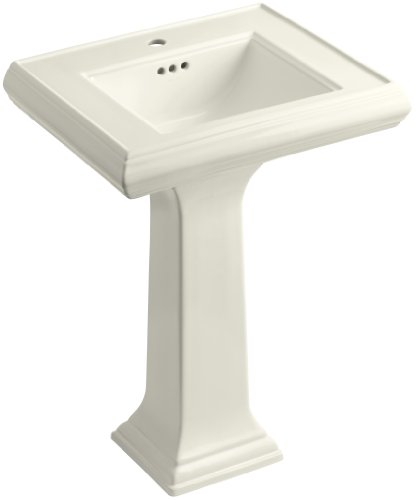 Kohler K-2238-1-96 Memoirs Pedestal Lavatory with Single-Hole Faucet Drilling and Classic Design, Biscuit